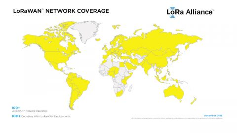 LoRa Alliance LoRaWAN Deployments Map (December 2018)